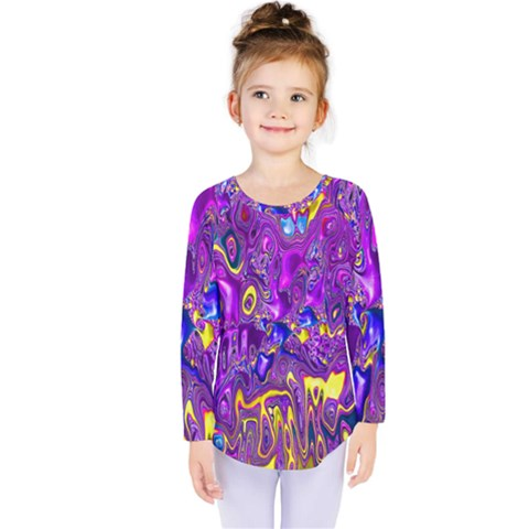 Melted Fractal 1a Kids  Long Sleeve Tee by MoreColorsinLife