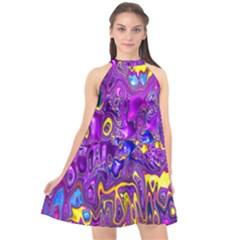 Melted Fractal 1a Halter Neckline Chiffon Dress  by MoreColorsinLife