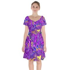 Melted Fractal 1a Short Sleeve Bardot Dress by MoreColorsinLife