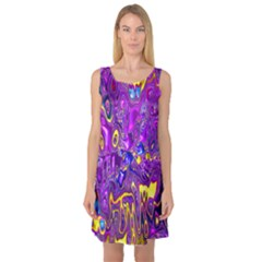 Melted Fractal 1a Sleeveless Satin Nightdress by MoreColorsinLife