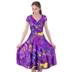 Melted Fractal 1a Cap Sleeve Wrap Front Dress by MoreColorsinLife
