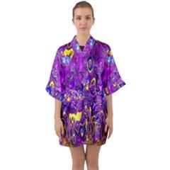 Melted Fractal 1a Quarter Sleeve Kimono Robe by MoreColorsinLife