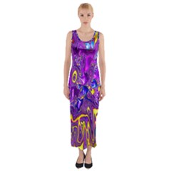 Melted Fractal 1a Fitted Maxi Dress by MoreColorsinLife