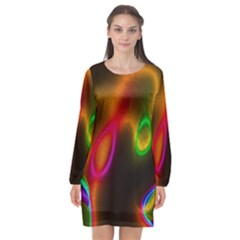 Vibrant Fantasy 4 Long Sleeve Chiffon Shift Dress  by MoreColorsinLife