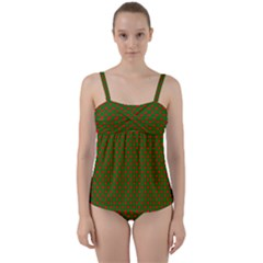 Large Red Christmas Hearts On Green Twist Front Tankini Set by PodArtist