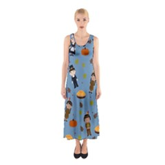 Pilgrims And Indians Pattern   Thanksgiving Sleeveless Maxi Dress by Valentinaart