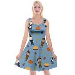 Pilgrims And Indians Pattern   Thanksgiving Reversible Velvet Sleeveless Dress by Valentinaart