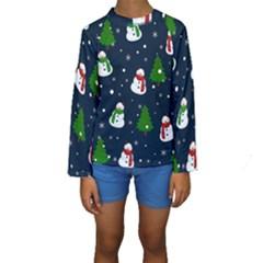 Snowman Pattern Kids  Long Sleeve Swimwear by Valentinaart
