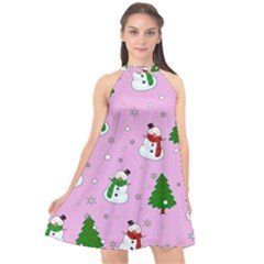 Snowman Pattern Halter Neckline Chiffon Dress  by Valentinaart