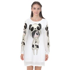 Kawaii Panda Girl Long Sleeve Chiffon Shift Dress  by Valentinaart