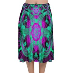 Pattern Velvet Flared Midi Skirt by gasi