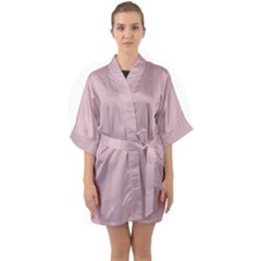 Baby Pink Stitched And Quilted Pattern Quarter Sleeve Kimono Robe