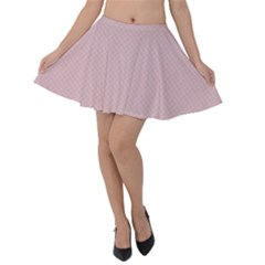 Baby Pink Stitched And Quilted Pattern Velvet Skater Skirt by PodArtist
