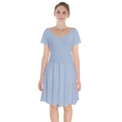 Powder Blue Stitched And Quilted Pattern Short Sleeve Bardot Dress by PodArtist