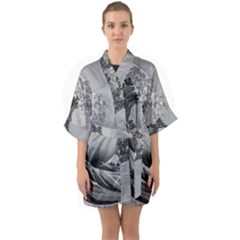 Black And White Japanese Great Wave Off Kanagawa By Hokusai Quarter Sleeve Kimono Robe by PodArtist