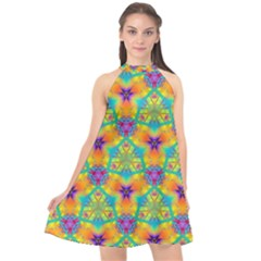 Pattern Halter Neckline Chiffon Dress  by gasi