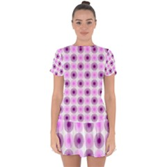 Pattern Drop Hem Mini Chiffon Dress by gasi