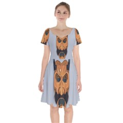 Mask India South Culture Short Sleeve Bardot Dress