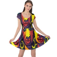Ethnic Bold Bright Artistic Paper Cap Sleeve Dress