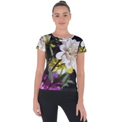 Dahlias Dahlia Dahlia Garden Short Sleeve Sports Top  by Celenk