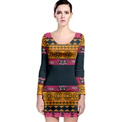 Pattern Ornaments Africa Safari Long Sleeve Bodycon Dress