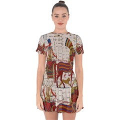 Egyptian Tutunkhamun Pharaoh Design Drop Hem Mini Chiffon Dress by Celenk