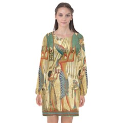 Egyptian Man Sun God Ra Amun Long Sleeve Chiffon Shift Dress