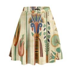Egyptian Paper Papyrus Hieroglyphs High Waist Skirt