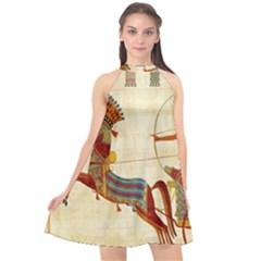 Egyptian Tutunkhamun Pharaoh Design Halter Neckline Chiffon Dress