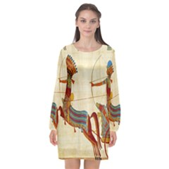 Egyptian Tutunkhamun Pharaoh Design Long Sleeve Chiffon Shift Dress