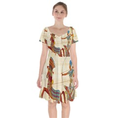 Egyptian Tutunkhamun Pharaoh Design Short Sleeve Bardot Dress by Celenk