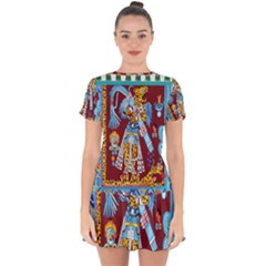 Mexico Puebla Mural Ethnic Aztec Drop Hem Mini Chiffon Dress by Celenk
