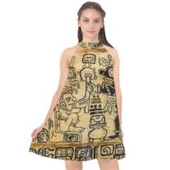 Mystery Pattern Pyramid Peru Aztec Font Art Drawing Illustration Design Text Mexico History Indian Halter Neckline Chiffon Dress  by Celenk