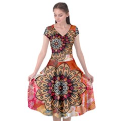 Mandala Art Design Pattern Ethnic Cap Sleeve Wrap Front Dress by Celenk