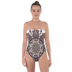 Mandala Pattern Round Brown Floral Tie Back One Piece Swimsuit by Celenk