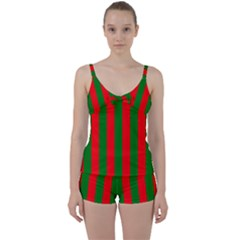 Wide Red And Green Christmas Cabana Stripes Tie Front Two Piece Tankini