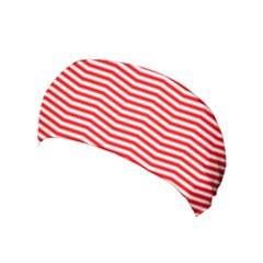 Christmas Red And White Chevron Stripes Yoga Headband by PodArtist