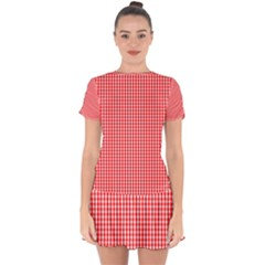 Small Snow White And Christmas Red Gingham Check Plaid Drop Hem Mini Chiffon Dress by PodArtist