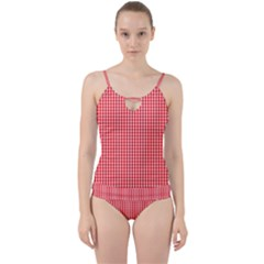 Small Snow White And Christmas Red Gingham Check Plaid Cut Out Top Tankini Set by PodArtist