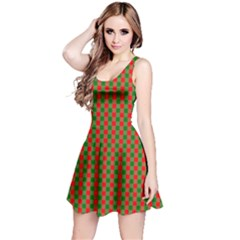 Large Red And Green Christmas Gingham Check Tartan Plaid Reversible Sleeveless Dress by PodArtist