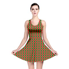 Large Red And Green Christmas Gingham Check Tartan Plaid Reversible Skater Dress by PodArtist