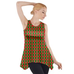 Large Red And Green Christmas Gingham Check Tartan Plaid Side Drop Tank Tunic by PodArtist