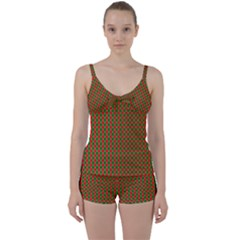 Large Red And Green Christmas Gingham Check Tartan Plaid Tie Front Two Piece Tankini by PodArtist