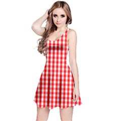 Large Christmas Red And White Gingham Check Plaid Reversible Sleeveless Dress by PodArtist