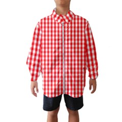 Large Christmas Red And White Gingham Check Plaid Wind Breaker (kids) by PodArtist