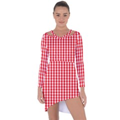 Large Christmas Red And White Gingham Check Plaid Asymmetric Cut Out Shift Dress by PodArtist