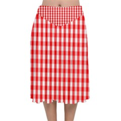 Large Christmas Red And White Gingham Check Plaid Velvet Flared Midi Skirt by PodArtist