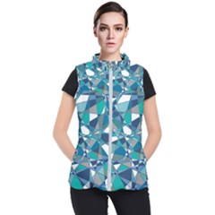 Abstract Background Blue Teal Women s Puffer Vest