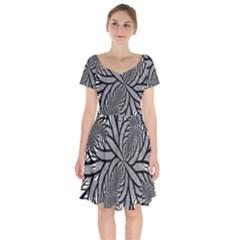 Fractal Symmetry Pattern Network Short Sleeve Bardot Dress by Celenk