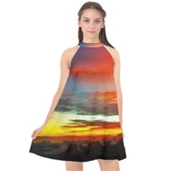 Sunset Mountain Indonesia Adventure Halter Neckline Chiffon Dress  by Celenk